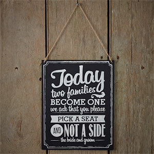 vintage chalkboard seating sign