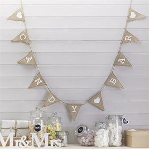 vintage hessian 'candy bar' bunting