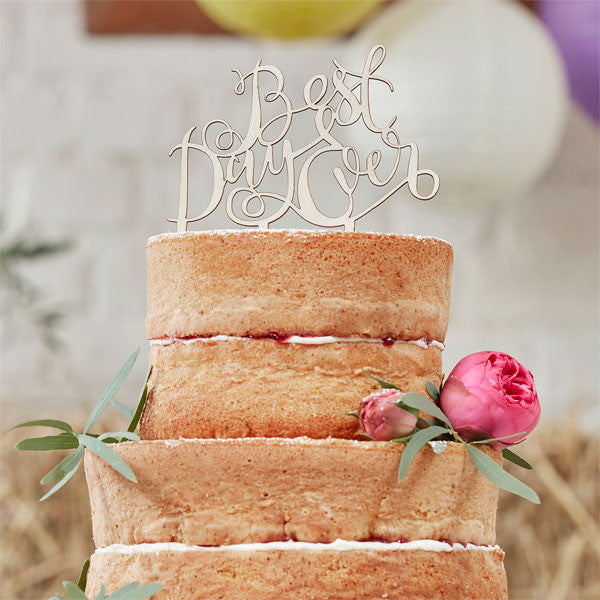 Boho wedding wooden 'Best Day Ever' cake topper