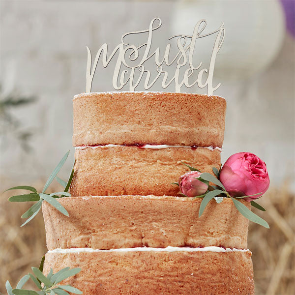 Boho wedding wooden 'Just Married' cake topper