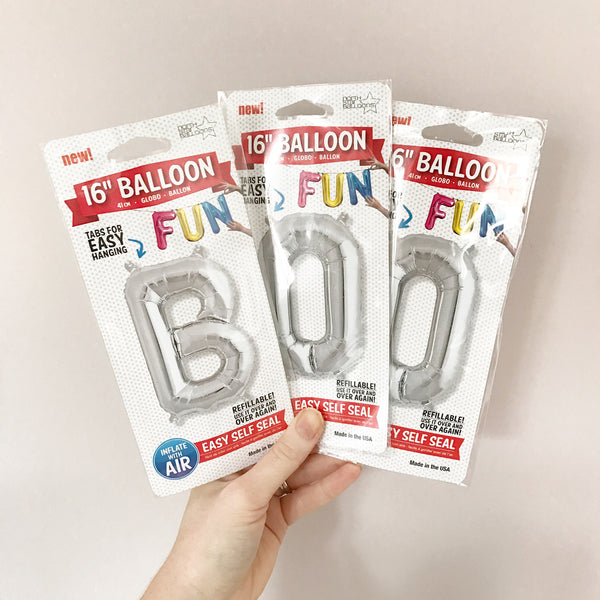 BOO - 16 INCH SILVER FOIL LETTER PACK