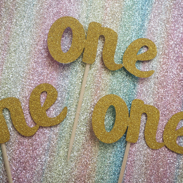 Gold One Cupcake Toppers Pack of 5