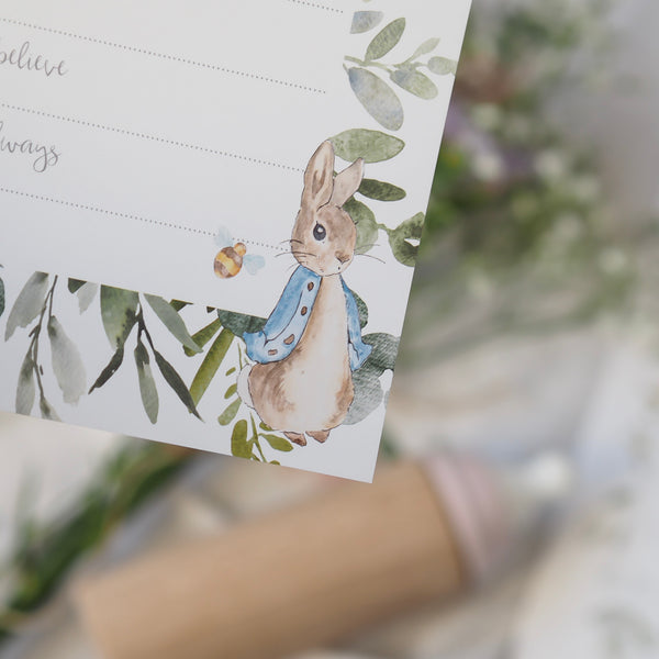 Peter Rabbit 'Dear Baby' baby shower game cards