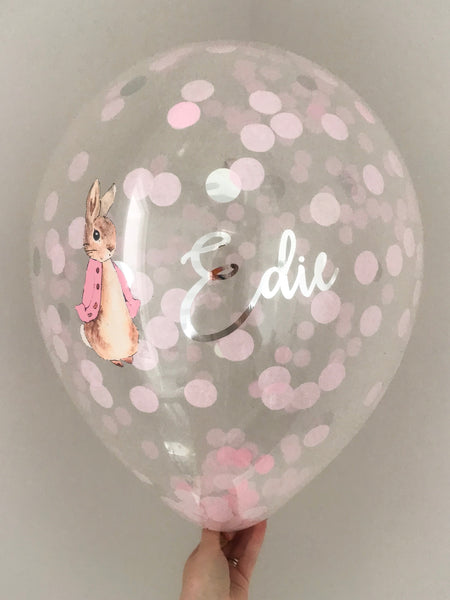 Peter Rabbit Pink Personalised Confetti Balloon 16inch With Garland