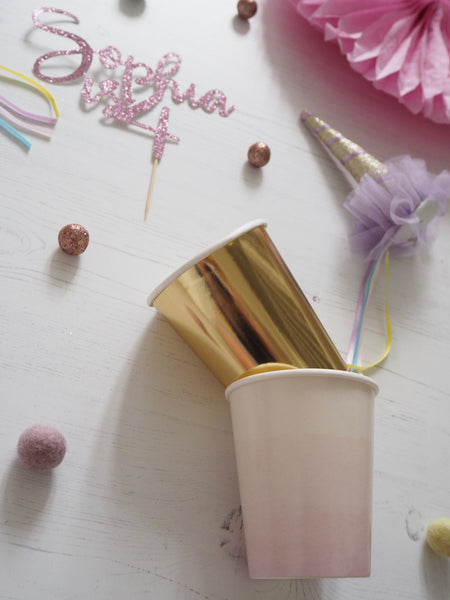 Unicorn party pink and gold cups