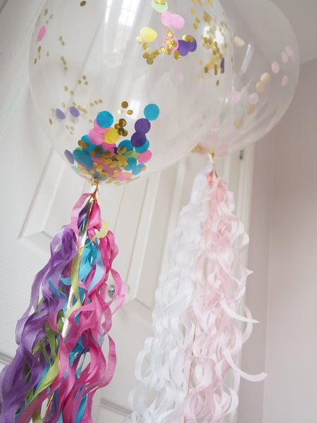 Personalised Confetti Balloons with ribbon tail