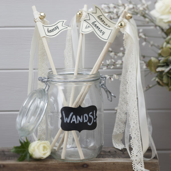vintage wedding wands cream