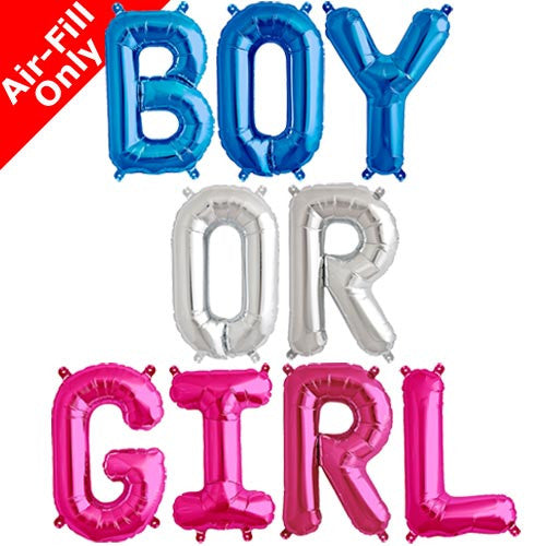 BOY OR GIRL - 16 INCH BLUE, SILVER AND MAGENTA LETTER BALLOONS
