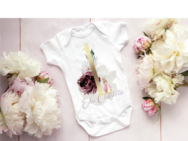 Peter rabbit floral 1st birthday vest
