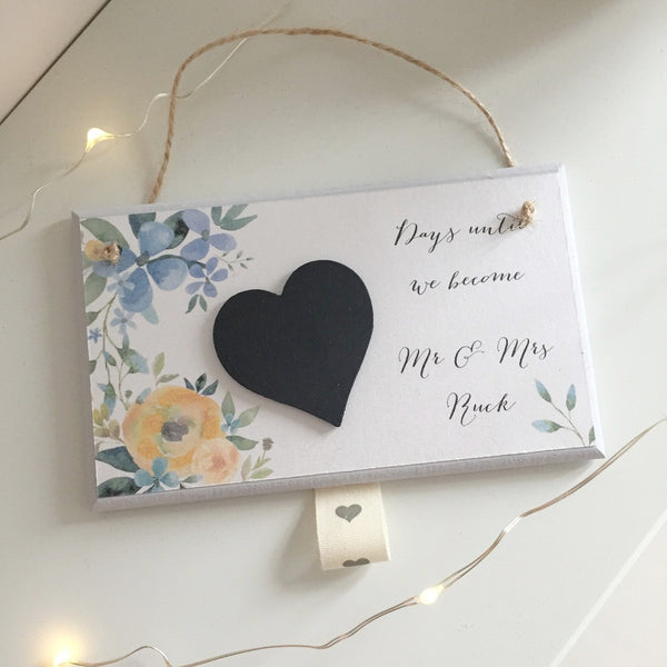 Floral wedding countdown plaque