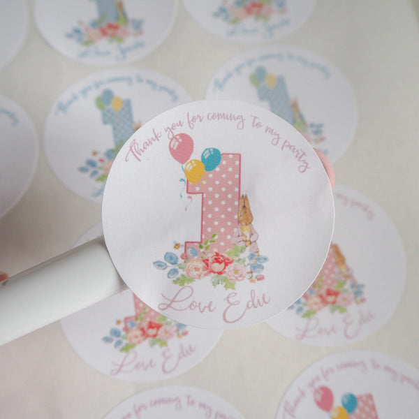 Peter Rabbit Party, Peter Rabbit Stickers, First Birthday, Birthday Stickers