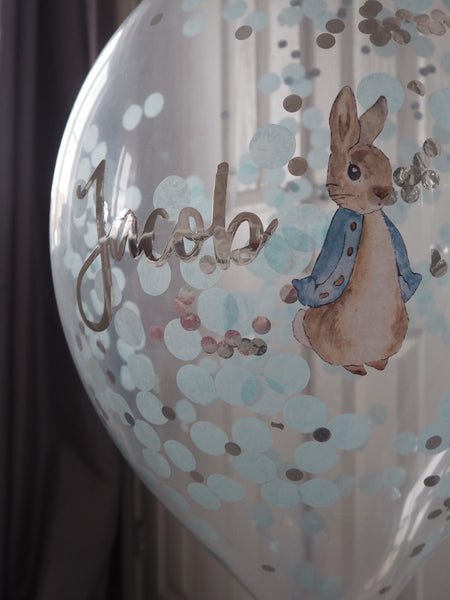 Peter Rabbit Blue Personalised Confetti Balloon 16inch With Garland