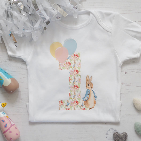 Peter Rabbit Floral One Birthday Vest
