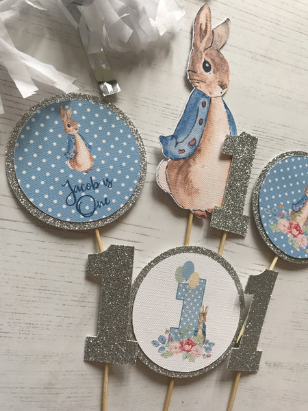 Peter Rabbit Blue Cupcake Toppers Set of 7