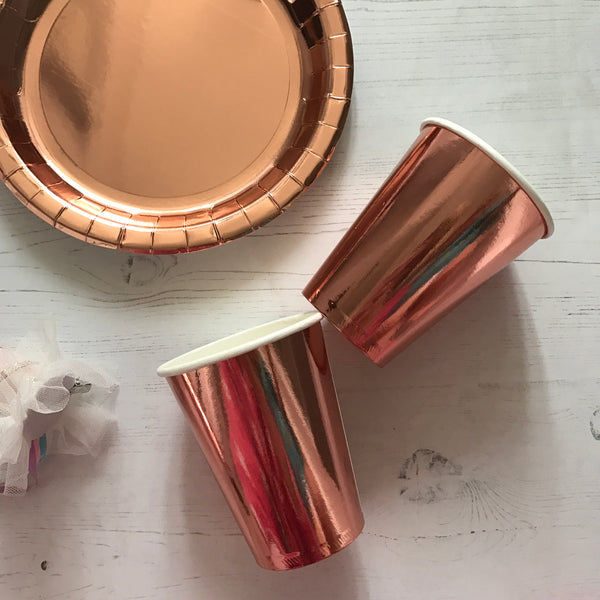 Rose Gold Foil Paper Cups Pack of 8
