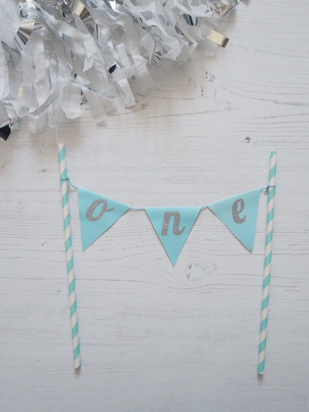 BLUE ONE BIRTHDAY BANNER CAKE TOPPER
