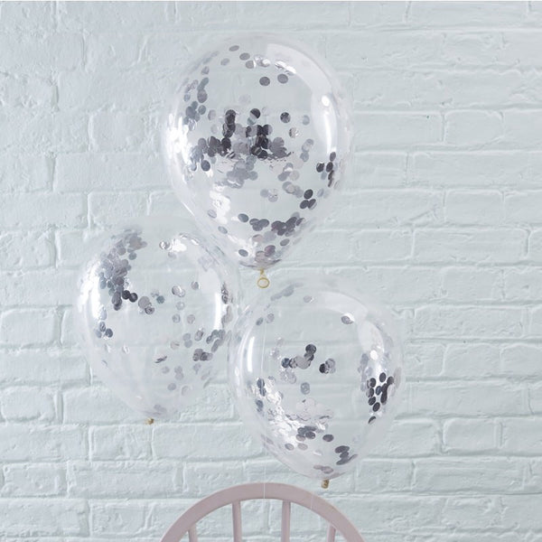 Silver confetti balloons pack of 5