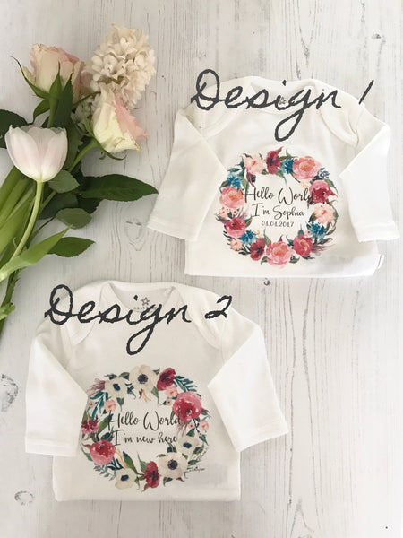 'Hello I'm New Here' Floral Wreath Personalised Sleepsuit