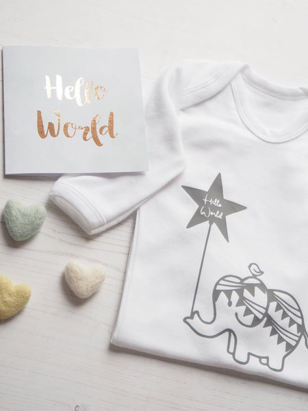 'Hello World' elephant and bird sleepsuit