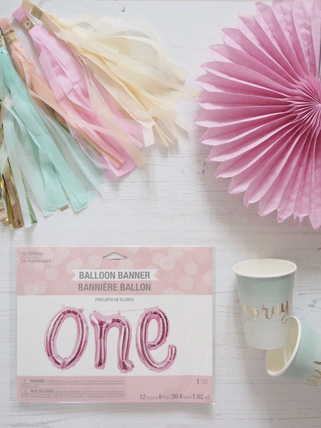 PINK ONE BIRTHDAY BALLOON BANNER
