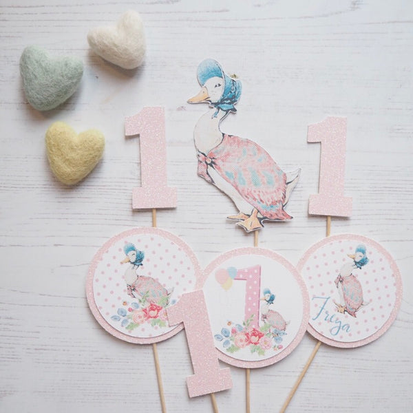Jemima Puddle Duck Pink Cupcake Toppers Set of 7