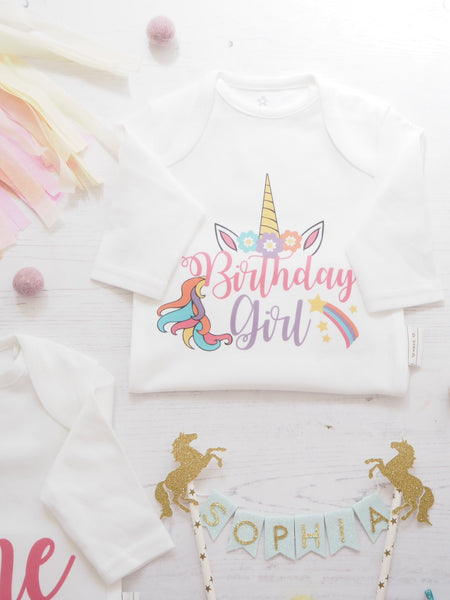 Unicorn Birthday Girl Vest or T-Shirts