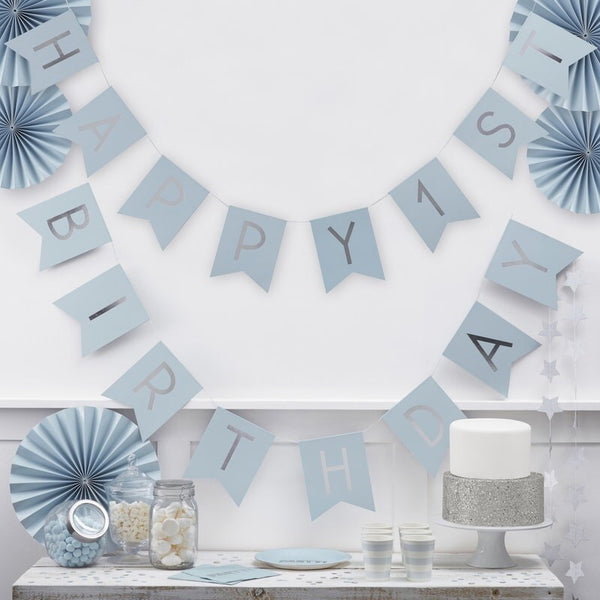 Blue & Silver 1st birthday bunting