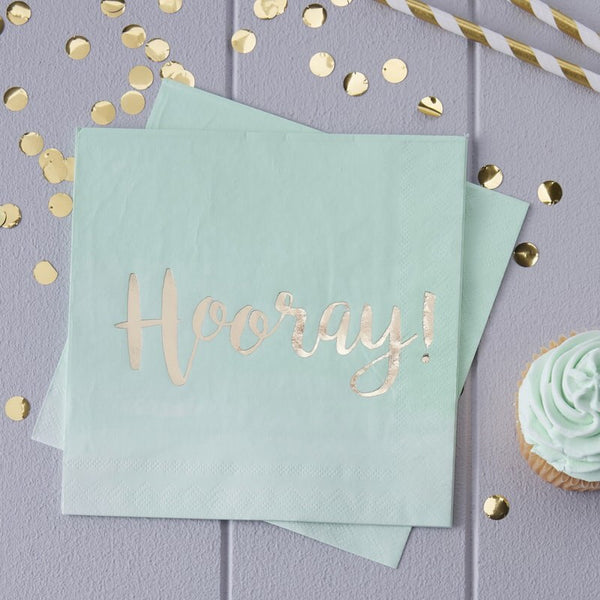 Mint & Gold Foiled Hooray Paper Napkins