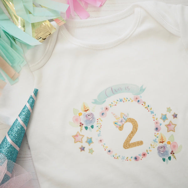 Unicorn Birthday Age Vest or T-Shirts