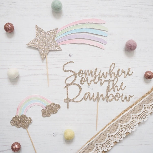 Shooting Star Rainbow Cake Topper