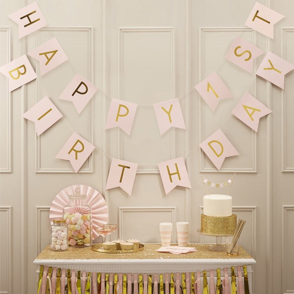 Happy First Birthday Pink & Gold Bunting - Pastel Perfection
