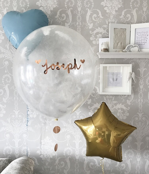 Personalised feather balloon