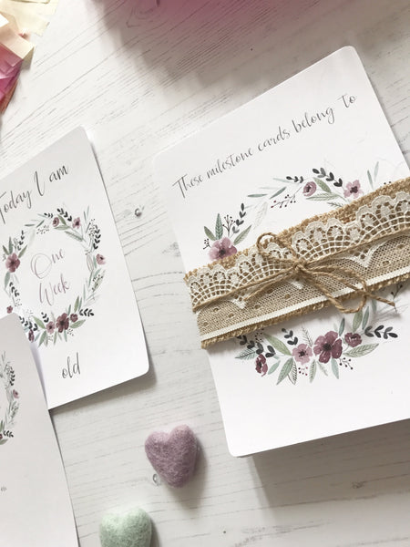 Floral Wreath Milestone Cards