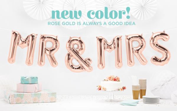 Mr & Mrs 16inch Rose Gold Letter Balloons