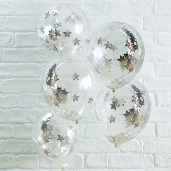 Silver Star Shaped Confetti Filled Balloons pack of 5