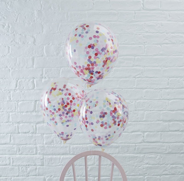 Rainbow confetti filled balloons pack of 5