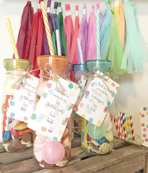 birthday party favour tags