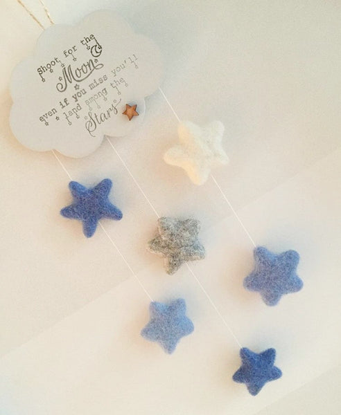 Hanging cloud with felt stars