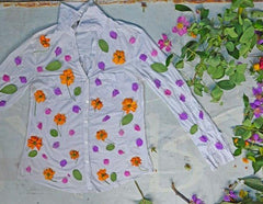 floral eco printing on shirt from uttarakhand