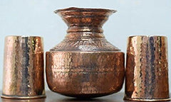 Handcrafted set of Copper Gagar with 2 Glasses-Copperware-Samaun- The Himalayan Treasure