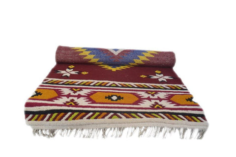 Handmade Traditional Carpet from Badrinath Valley in Multi-color-Himalayan Rugs and Carpets-Samaun- The Himalayan Treasure