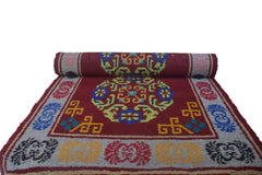 Handmade Traditional Carpet Red Base with Grey Border-Himalayan Rugs and Carpets-Samaun- The Himalayan Treasure
