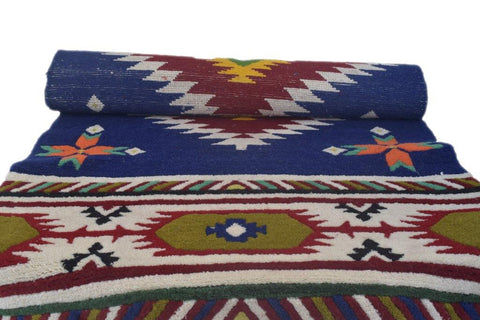 Handmade Traditional Carpet Blue Base-Himalayan Rugs and Carpets-Samaun- The Himalayan Treasure