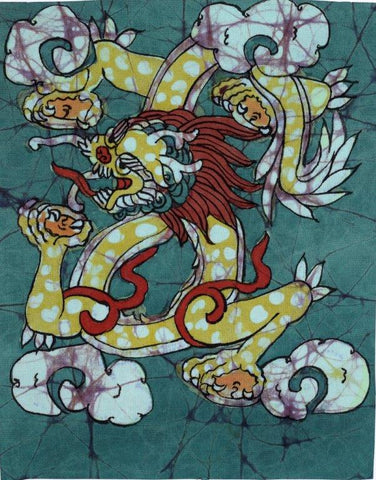 Dragon painting in Tibetan Buddhist Batik style.