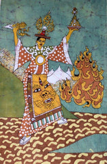 fire goddess painting in tibetan batik style