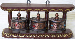 Tibetan Buddhist Hanging Triple Prayer Wheels