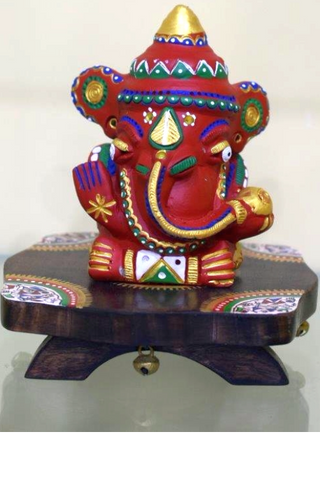Ganeshji idol in Clay with wooden chowki-Stone & Clay sculptures-Samaun- The Himalayan Treasure