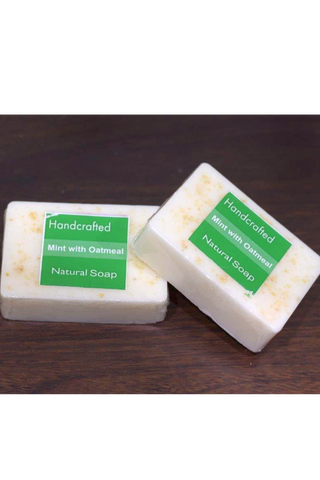 Handcrafted Soap (100g) - Mint with Oatmeal-Natural handcrafted soaps-Samaun- The Himalayan Treasure