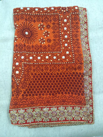 Kumaoni Rangwali Pichhoda with beads and latest Lace