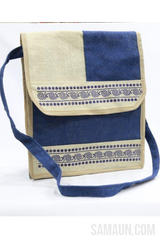 Jute flap bag in Kumaoni Aipan rangoli print with hanging strap-Jute,Bamboo & Ringal-Samaun- The Himalayan Treasure
